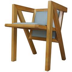 Geometric Beech and Design Armchair