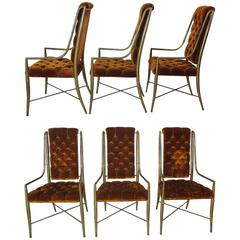 Vintage Mastercraft Six Brass Faux Bamboo Imperial Dining Chairs