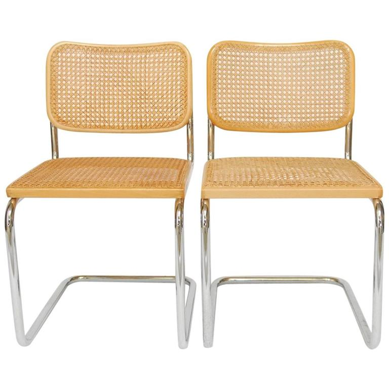 Pair Of Marcel Breuer Cesca Chairs By Gavina For Knoll For Sale