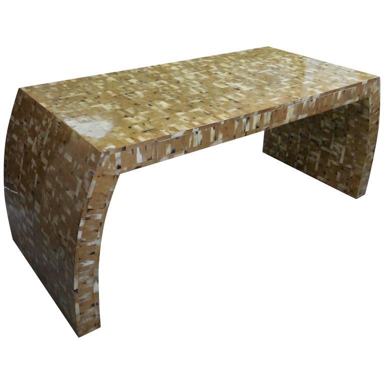 Tessellated Blond Horn Desk, Manner of Karl Springer