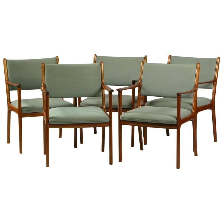 1960s Five Ole Wanscher PJ 412 Armchairs in Mahagony and Blue Fabric