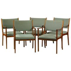 1960s Five Ole Wanscher PJ 412 Armchairs in Mahogany
