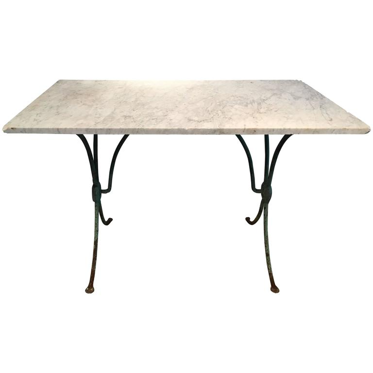Antique french wrought iron table with marble top for sale for Wrought iron table bases marble top