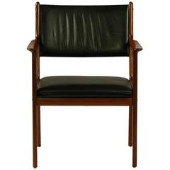 1960s Ole Wanscher PJ 412 Armchair in Mahogany and Leather