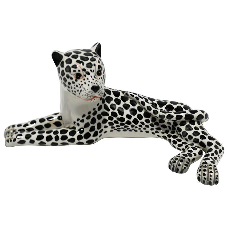 Large Italian Art Deco Black and White Cheetah or Leopard Cat Sculpture For Sale