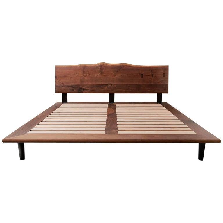 Handcrafted Walnut Slab Platform Bed, King-sized For Sale