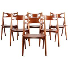 Set of Six CH29 Sawbuck Dining Chairs by Hans J. Wegner for Carl Hansen & Son