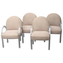 Set of Four Classic Mid-Century Modern Lucite and Upholstered Armchairs