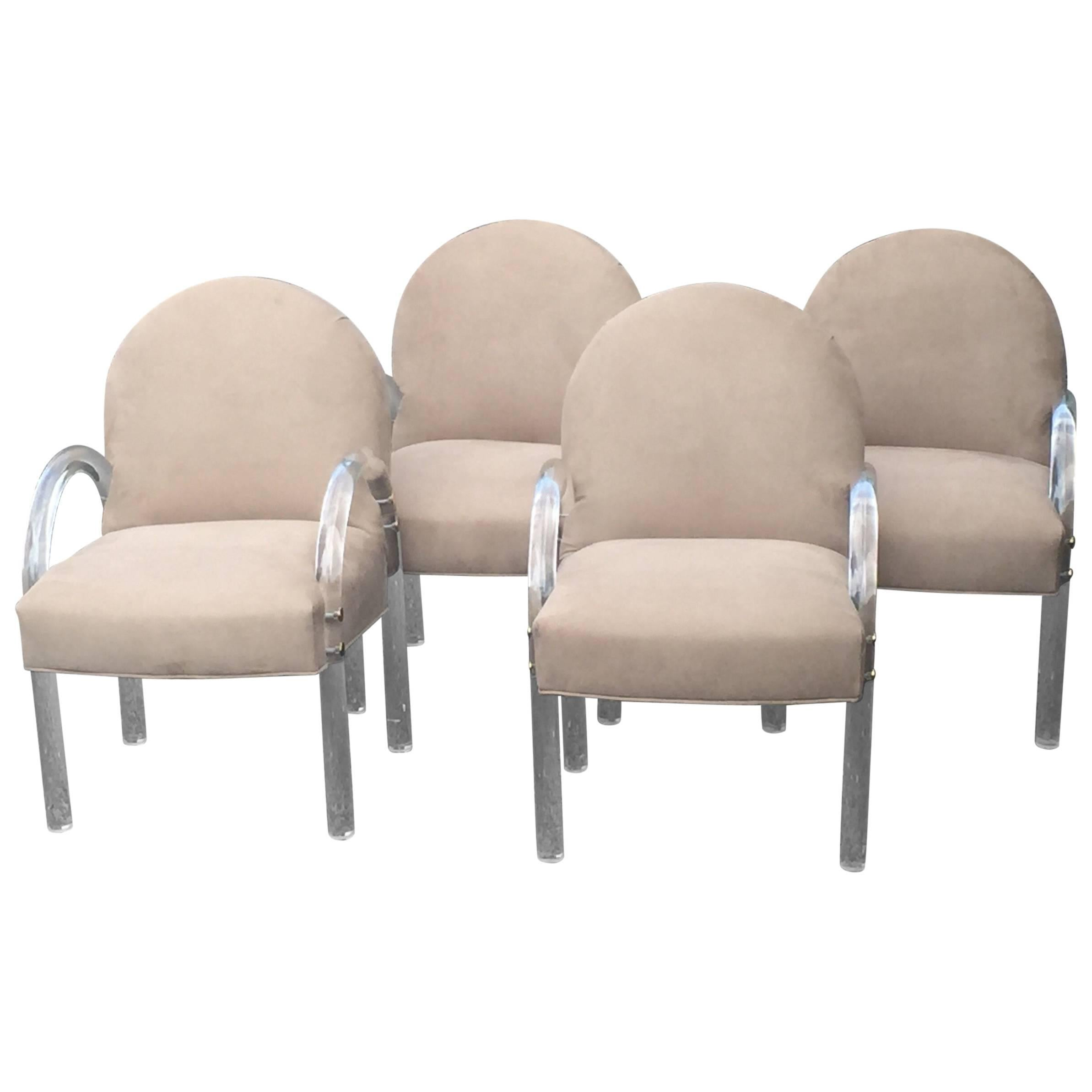 set of four classic midcentury modern lucite and upholstered armchairs