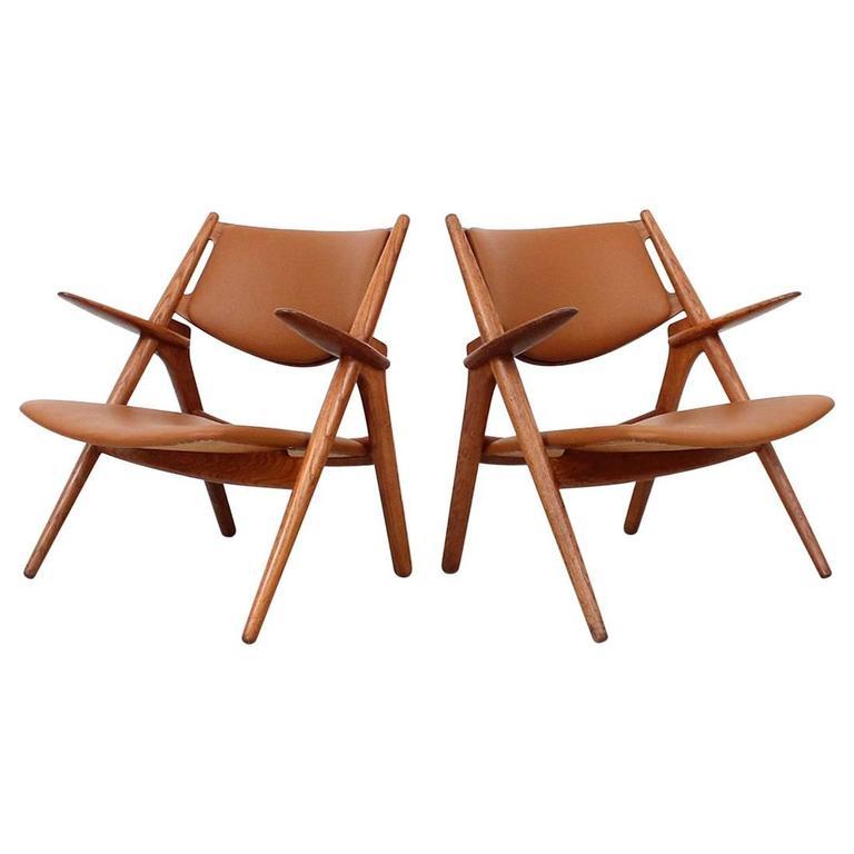 Hans Wegner Sawbuck Lounge Chairs For Sale