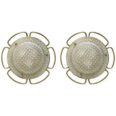 Pair of Large Glass and Brass Wall Ceiling Lights Flush Mounts, Germany, 1960s
