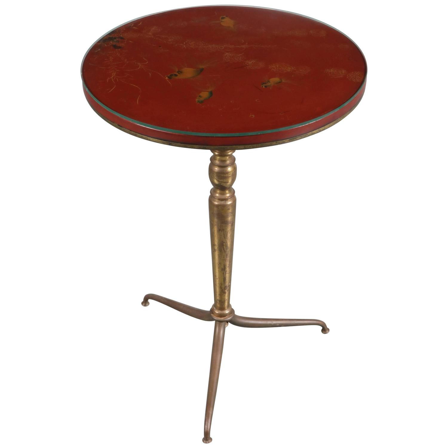 Hand Painted Side Table by Thanhley Vietnam circa 1940 For Sale