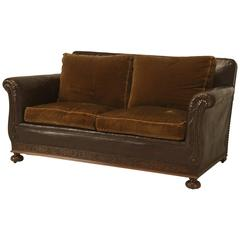 Antique French Leather and Velvet Settee from the 1930s