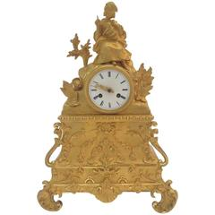 Napoleon III Gilt Bronze Mantel Clock with Girl Embracing a Cat, France, 1880s