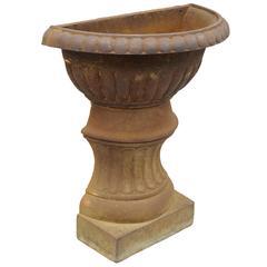 Antique French Cast Iron Half Round Wall Mount Garden Planter Pedestal Urn Form