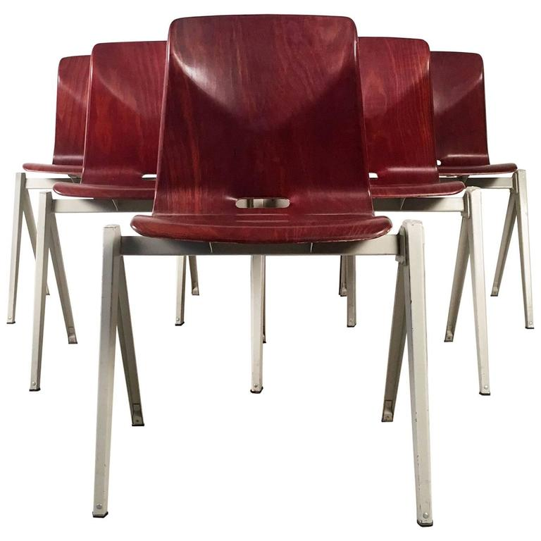 Six Dutch Industrial Design Stacking Chairs from the 1960s For