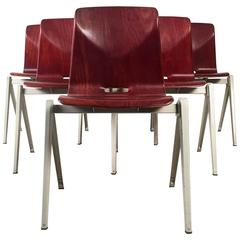 Six Dutch Industrial Design Stacking Chairs from the 1960s