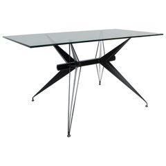 Italian Modernist Black Steel and Glass Desk Table after Osvaldo Borsani Tecno