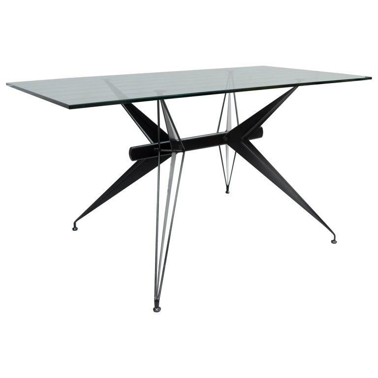 Italian Modernist Black Steel and Glass Desk Table after Osvaldo Borsani Tecno