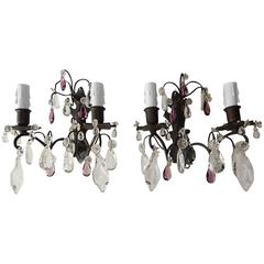 French Burnished Brass Amethyst and Clear Crystal Prisms Sconces