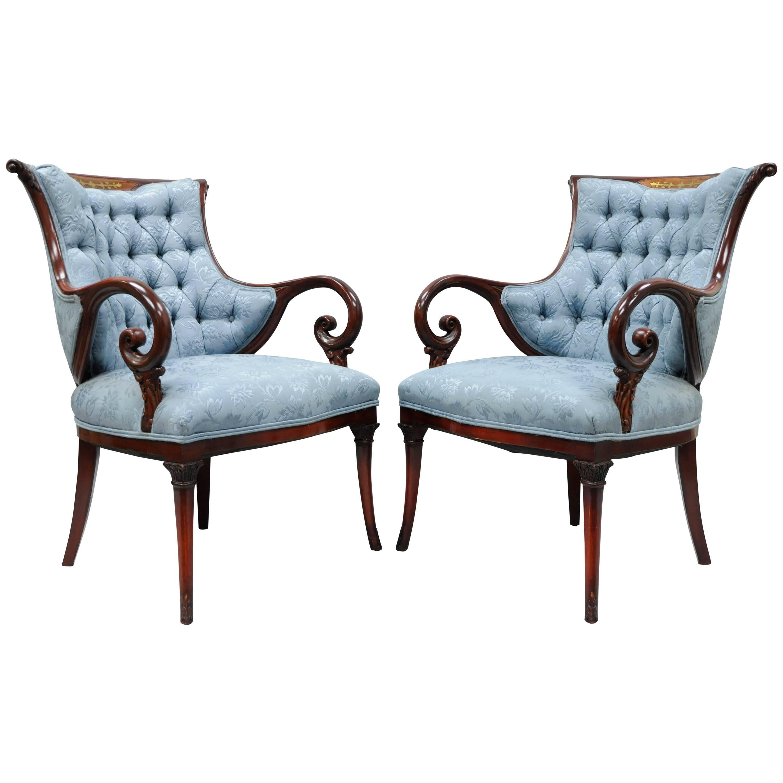Pair Grosfeld House Mahogany Rosewood Brass Inlay Hollywood Regency Arm Chairs