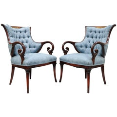 Pair Grosfeld House Mahogany Rosewood Brass Inlay Hollywood Regency Arm Chairs