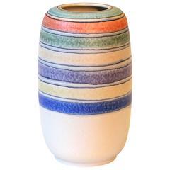 Vintage Bagni Italian Pottery Pastel Stripes Ceramic Raymor Label Vase