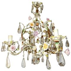 French Porcelain Flowers Tole and Crystal Prisms Chandelier