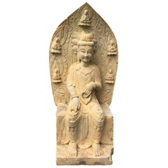 Old Garden Stone Guan Yin Buddha with Lovely Face