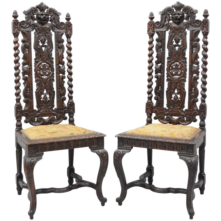 Gentil Pair Of Renaissance Revival Figural Lion, Barley Twist Tall Throne Chairs  For Sale