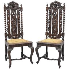 Pair of Renaissance Revival Figural Lion, Barley Twist Tall Throne Chairs
