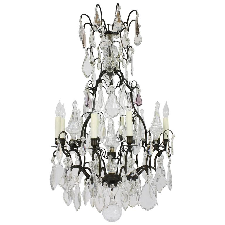 Large French Patinated Bronze and Crystal Chandelier 1
