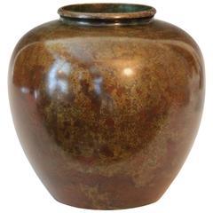 Vintage Big Japanese Rotund Warm Red Patinated Bronze Murashi Do Vase
