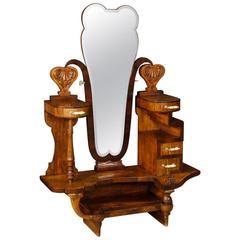 20th Century Italian Cheval Mirror in Walnut Wood