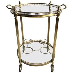 Circular French Brass Drinks Trolley or Bar Cart