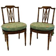Pair of Early 19th Century English Chairs with Cane Seats, circa 1800