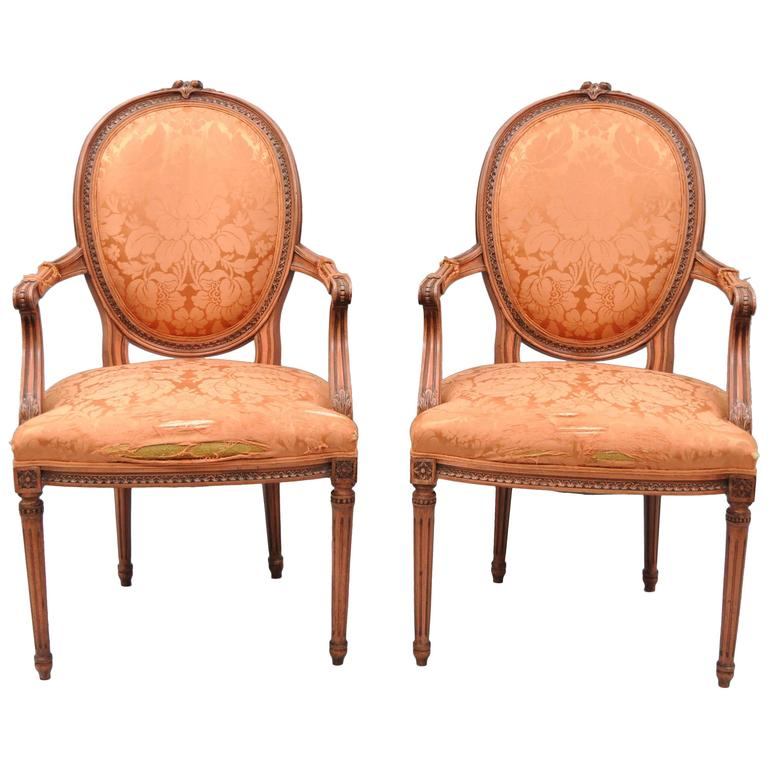 Pair of French Louis XVI Style Dining Armchairs Pink Distress Painted Oval Back