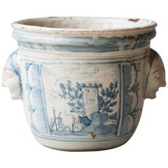18th Century Blue and White Faïence Cache Pot from Nevers, France