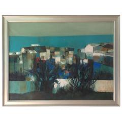 Amazing Early Abstract Lanscape Painting by Nicola Simbari Titled Contrada Caten