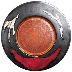 West German Pottery Plate from the 1970s by Rainer Gehrig