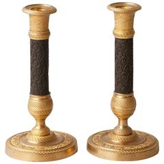 Pair of Fine Quality Early 19th Century Gilt and Patinated Bronze Candlesticks