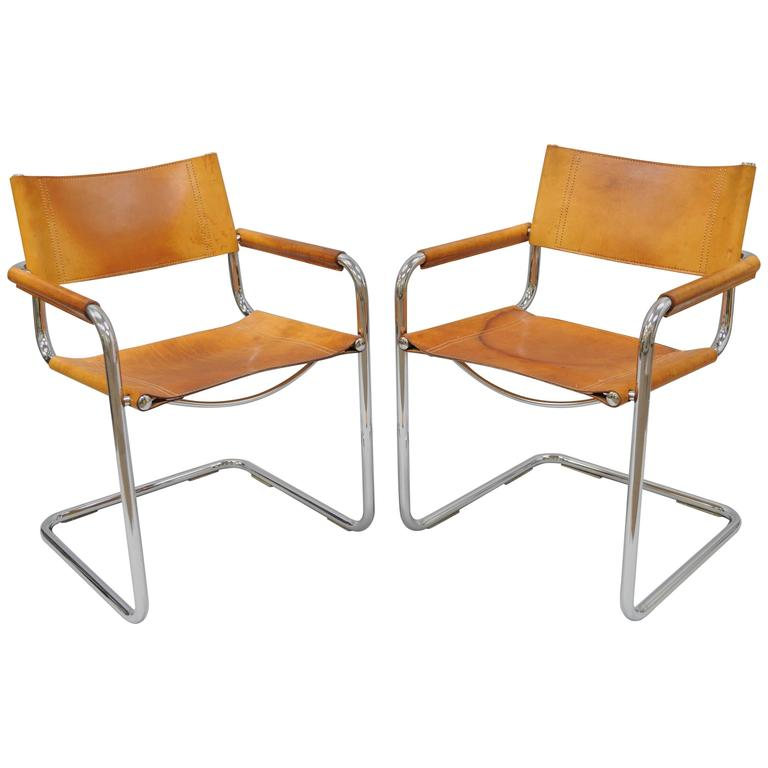 pair of cognac leather mart stam for fasem s34 dining armchairs tubular chrome for sale at 1stdibs. Black Bedroom Furniture Sets. Home Design Ideas