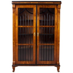 19th Century Czech Biedermeier Brown Walnut Double-Door Closet, Shellac polish
