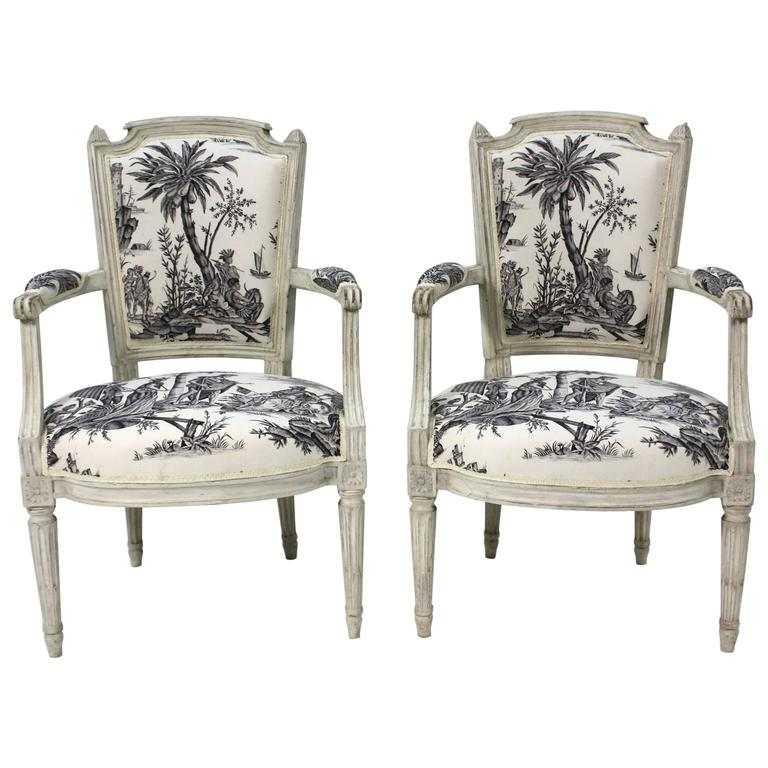 Pair of French Louis XVI Period Fauteuils or Armchairs 1