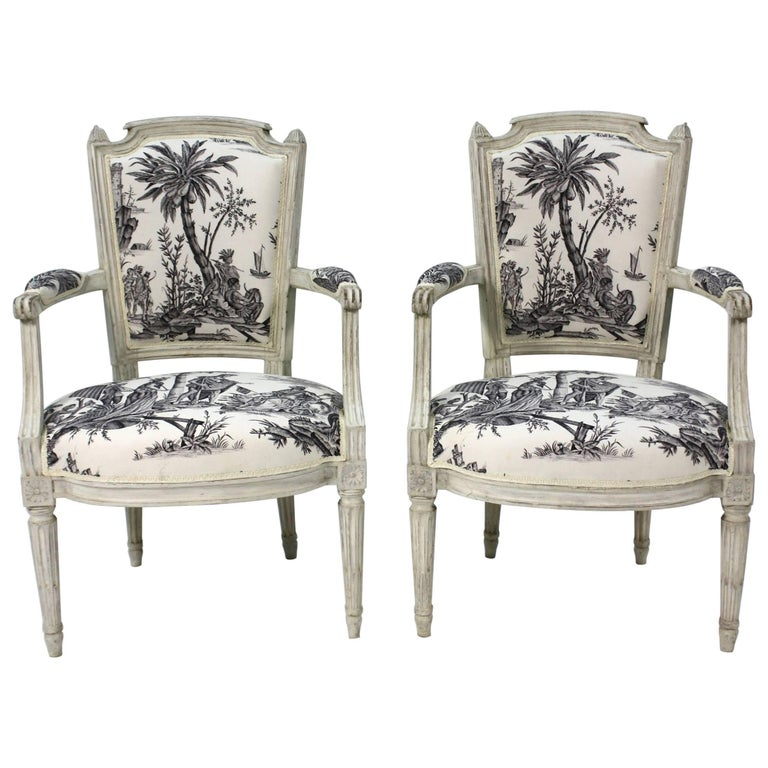 Pair of French Louis XVI Period Fauteuils or Armchairs For Sale