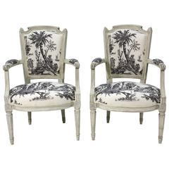 Pair of French Louis XVI Period Fauteuils or Armchairs