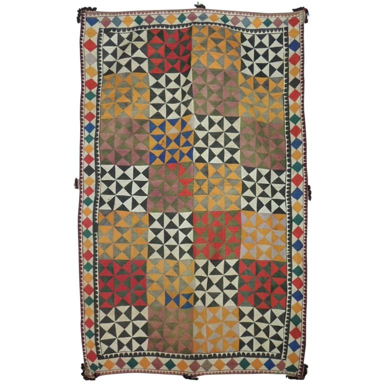 Antique Patchwork Indian Wedding Ceremonial Colorful Blanket