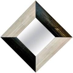 Contemporary Italian Square/Diamond Mirror in Black and Gray White Leather