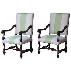 Pair of 19th Century Louis XIV Style Carved Walnut Fauteuils