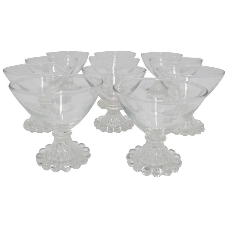 Set of 12 Depression Era Champagne Glasses